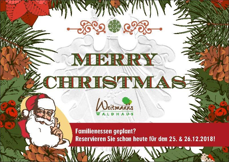 Bilder Mit Weihnachten.Weihnachten In Weitmanns Waldhaus 2018 Restaurant Weitmanns Waldhaus